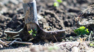 Shovel digging into dirt